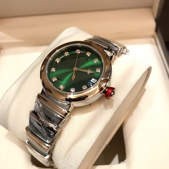 Hot Brand Fashion Luxury Watch Green Dial Mother of Pearls Dial Automatiic Watch Snake Strap Rose Gold Color Stainless Steel 3