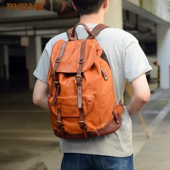 PNDME retro luxury genuine leather men women backpack fashion high-quality real cowhide large capacity travel anti-theft bagpack