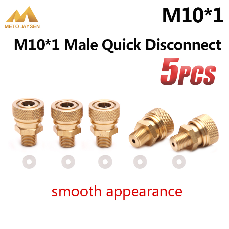 M10x1 Male Quick Disconnect Copper 8mm Air Refilling Coupling Connector Socket PCP Airforce Paintball 5pcs/set
