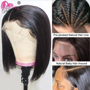 Image 3 - ישר בוב תחרה מול פאות מראש קטף קו שיער יופי foreve קצר שיער טבעי פאות ברזילאי ישר תחרה מול פאה רמי פאה