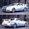 1:32 닛산 스카이 라인 Ares GTR R34 다이 캐스트 및 장난감 차량 금속 장난감 자동차 모델 높은 시뮬레이션 당겨 컬렉션 키즈 완구