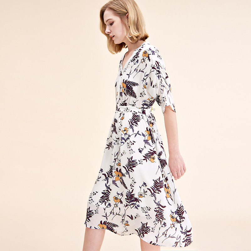 white chiffon plant floral silk dresses women 2020 summer long casual office work beach boho party dress plus size slim dropship - 3