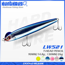 Hunthouse-señuelo para pesca con lápiz de hundimiento lento, 90mm, 14,8g, stickbait azul en forma de S, 130mm, 26g, señuelos duros para lubina, lw512