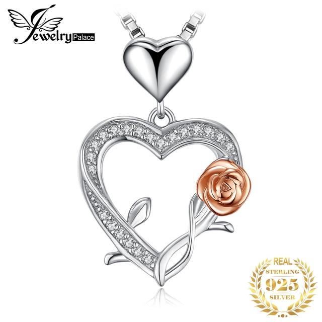 JPalace قلادة فضية وردية على شكل قلب من الفضة الخالصة عيار 925 قلادة للسيدات من الفضة عيار 925 مجوهرات بدون سلسلة