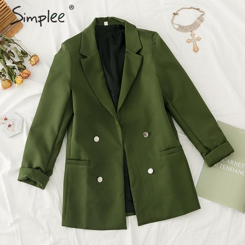 Simplee Double Breasted Women Blazer Elegant Ladies Chic Office Suit Jacket Solid Casual Female Autumn Winter Outwear Army Green