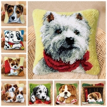 Latch Hook Rug Kits DIY Needlework Unfinished Crocheting Yarn Cushion Mat Dog 3D Embroidery Do It Yourself Carpet Sets