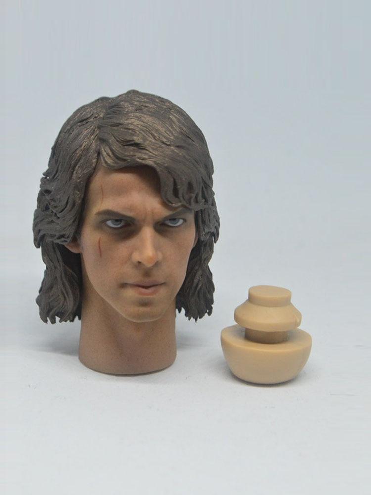"""1//6 Man Head Anakin Skywalker Male Sculpt Toy PVC Carving Model Fit 12/"""" Figure"""