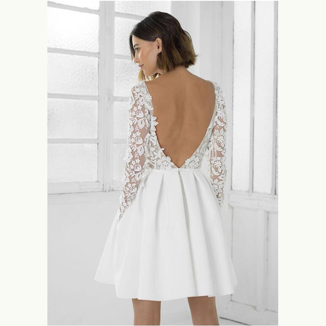 2021 Modern Sexy Short Lace Backless Bridal Wedding Dresses Long Sleeves Jewel Neck Wedding Gowns for Bride Mini Length Hot Sale 6