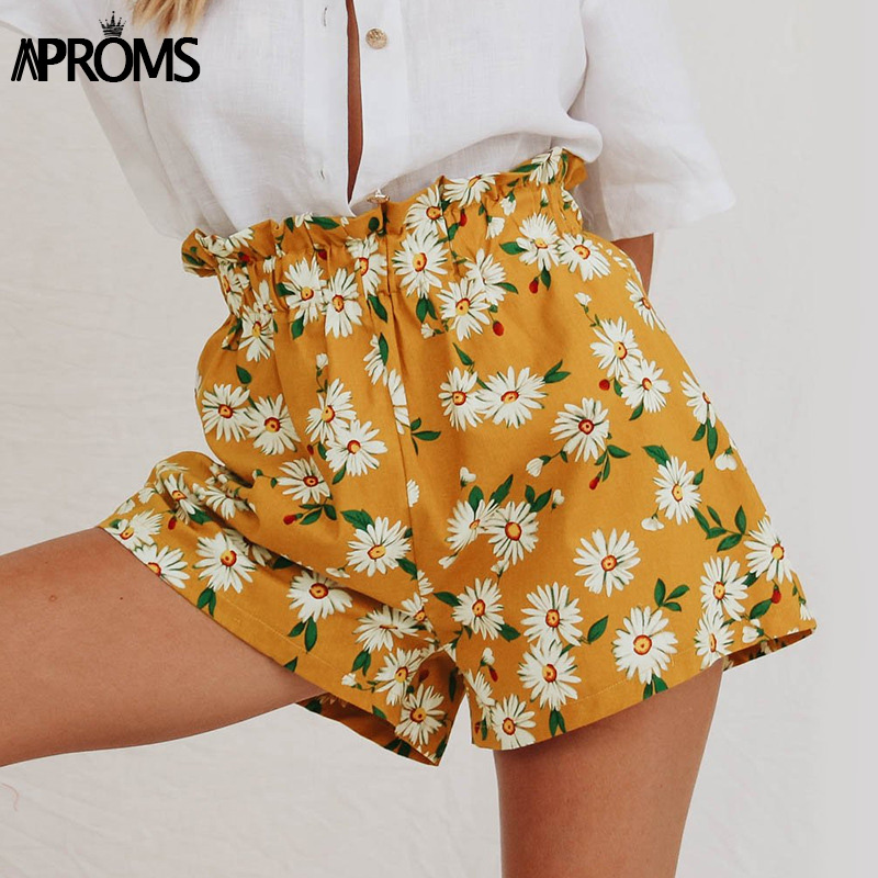Aproms Sweet White Flower Print Shorts Women Summer Casual Elastic High Waist Shorts Vintage Beach Streetwear Yellow Bottom 2020