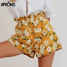 Aproms Sweet White Flower Print Shorts Women Summer Casual Elastic High Waist Shorts Vintage Beach Streetwear Yellow Bottom 2020