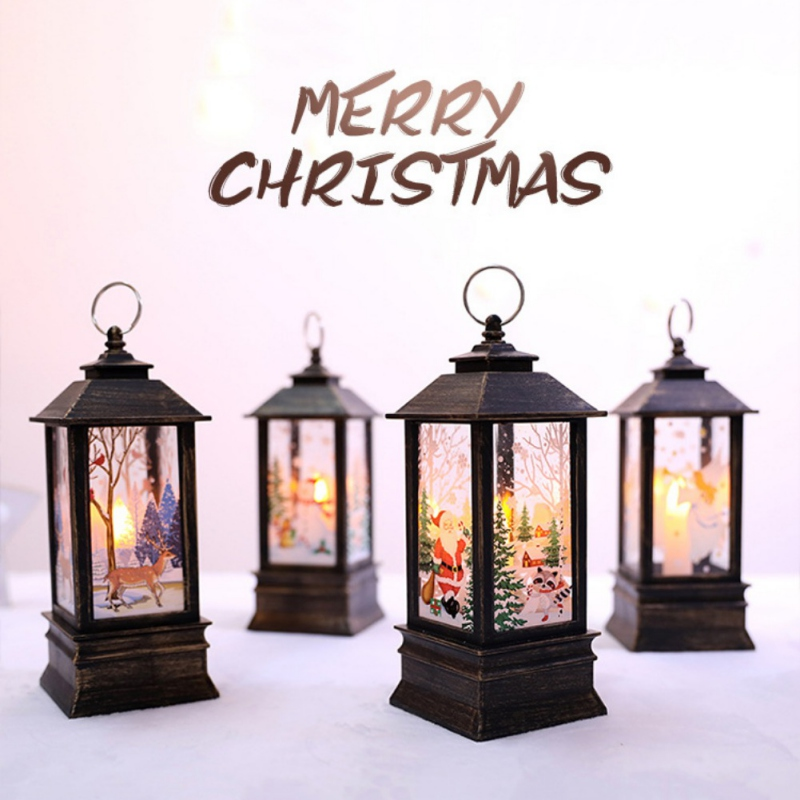 Christmas Home Party Decoration Christmas Mini Lantern LED Hanging Candle Lamp Elk Santa Pattern Claus Snowman Battery Operaed