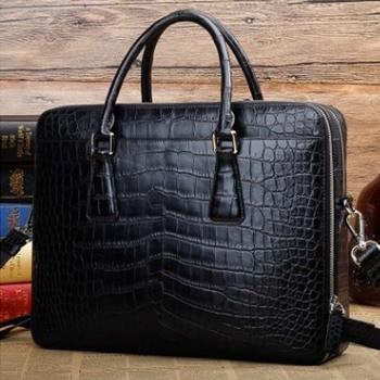 ourui crocodile belly A briefcase Double zipper Genuine leather handbag new paragraph men handbag