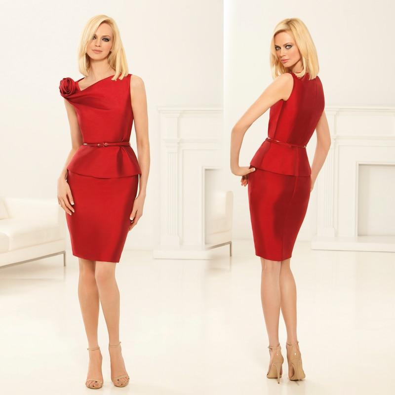 Glamorous Short Column Red Mother Of The Bride Dresses Latest Design Asymmetrical Shoulder Elegant Sheath Formal Gown XMD38