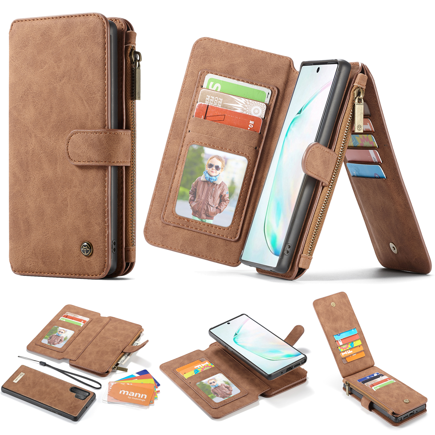 Note 10 Zipper Wallet Credit Card Slot Up Down Flip Stand PU Leather Detachable 2 in 1 Case for Samsung Galaxy Note 10+