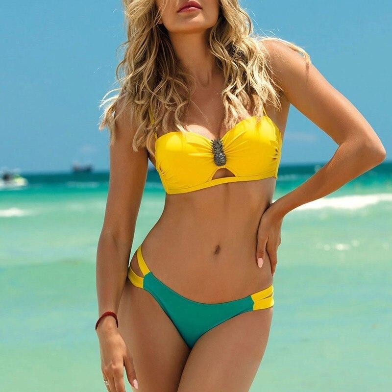 Strappy Sexy Swimwear Plus Size Bathing Suit 2020 New Push Up Swimsuit Women Bathers Brazilian Bikini Micro Summer Beach Wear