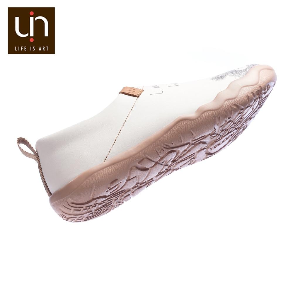 Uin Mooie Beer Ontwerp Vrouwen Casual Schoenen Microfiber Leather Slip On Loafers Comfort Wandelschoenen Dames Mode Witte Flats - 4
