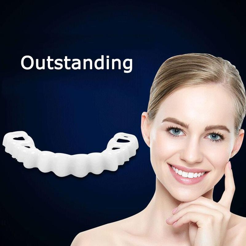 1 Set Teeth Whitening Snap On Smile Denture Instant Perfect Smile Teeth Fake Upper And Lower Teeth Cover Anti-real Brace Snap