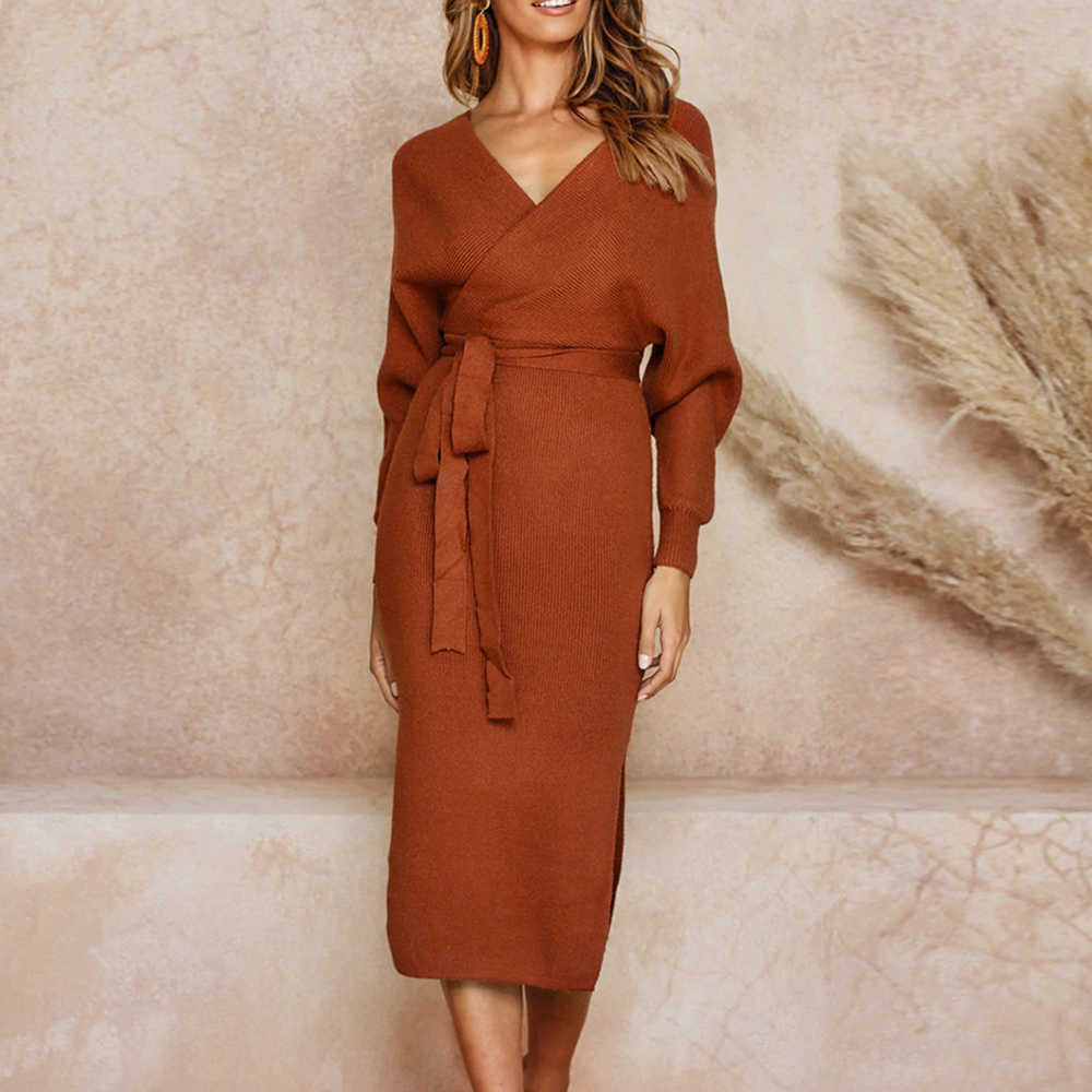 Oeak <font><b>Winter</b></font> <font><b>Dress</b></font> Women Knitted Sweater <font><b>Dress</b></font> <font><b>Sexy</b></font> V-Neck <font><b>Dress</b></font> Vestidos Long <font><b>Sleeve</b></font> Split <font><b>Casual</b></font> Lady Bodycon <font><b>Dress</b></font> Wrap Belted image
