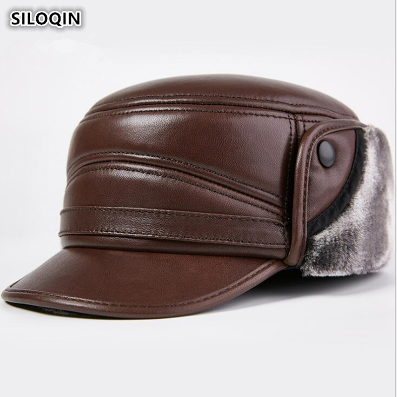 SILOQIN Winter Thick Warm Earmuffs Cap Genuine Leather Hat Men's Sheepskin Leather Army Military Hat Flat Cap Velvet Dad's Hats