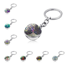 WG 1pc Colorful Peacock Keychain Pendant Cabochon Time Gem stone Glass Ball Metal Key chain Keyring Ornament Jewelry new sunflower time precious stone metal keychain cute flower glass cabochon car key chain bag pendant keyring kids gift