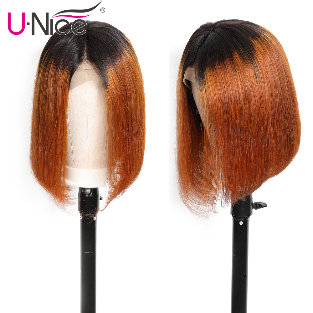 He0abb032c88d40e2af676ac1edb9fb2d6 Unice Hair 13*4 Straight Bob Ombre T1B30 Human Hair Wigs 8-14 Inch Pre Plucked Remy Hair Lace Front Wig