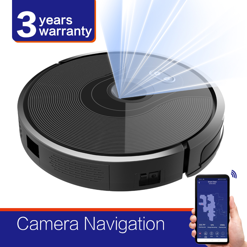 2019 High-End Camera Navigation Robot Vacuum Cleaner,WIFI APP controlled, Breakpoint Continue Cleaning, Adjustable Suction Power
