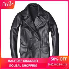 Jacket Black Double-Breasted Plus-Size Men Genuine-Cowhide Casual Autumn Long Russian