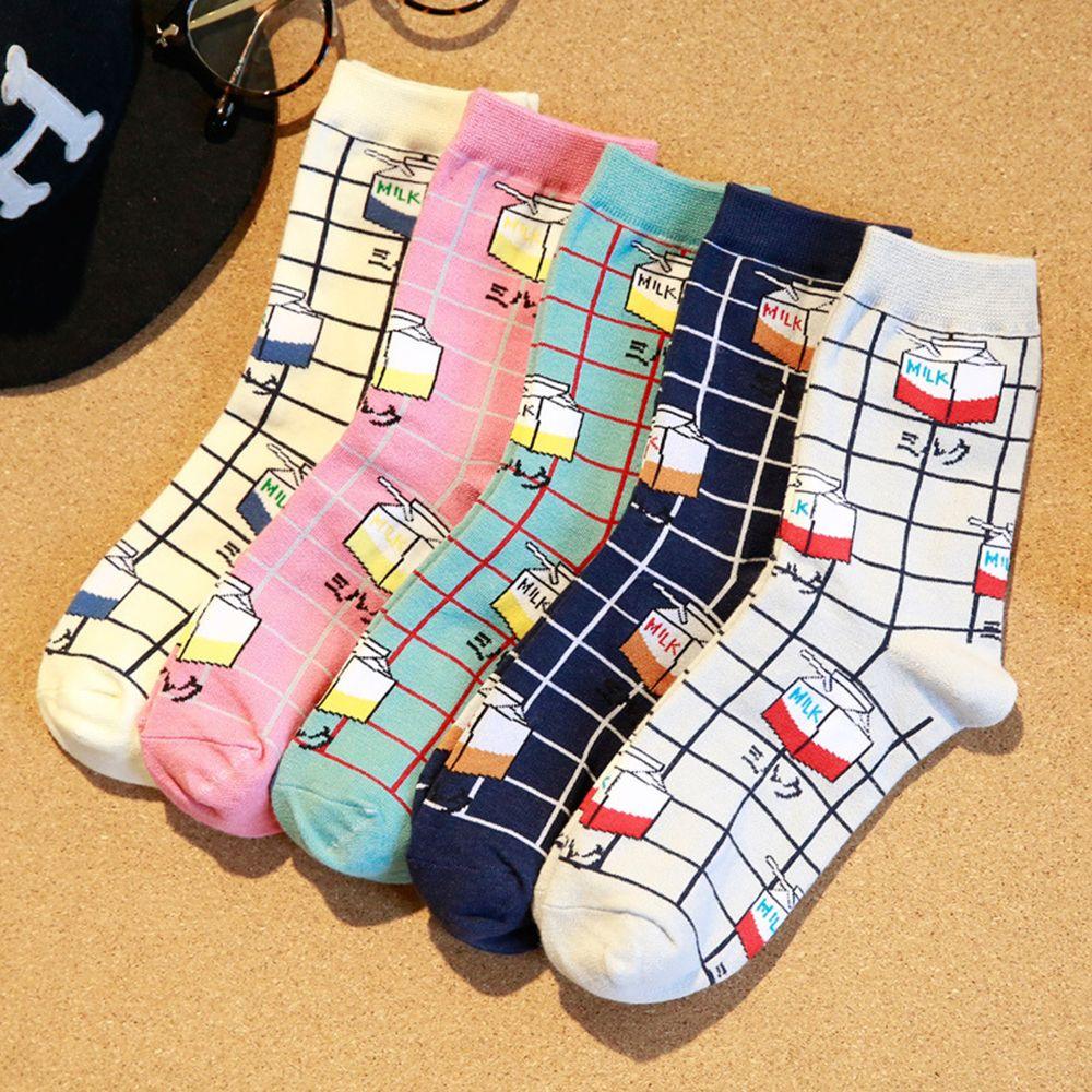 Japan Style Funny Socks Milk Design Fashion Female Socks Cartoon Cotton Happy Sock Ankle Warm Winter Cotton Hot Sale
