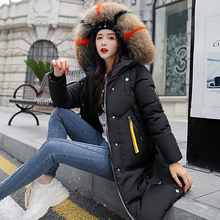 Cotton Hot Sale Solid Full Pockets Zippers Female Long Coat 2019 New Slim Parka Padded Jacket Winter Thick Warm Windbreaker#J30(China)