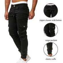 Classic Men Cargo Pants 2019 Autumn Casual Pencil Pants Drawstring Joggers Pleated Sweatpant Fashion Sportswear Military Trouser