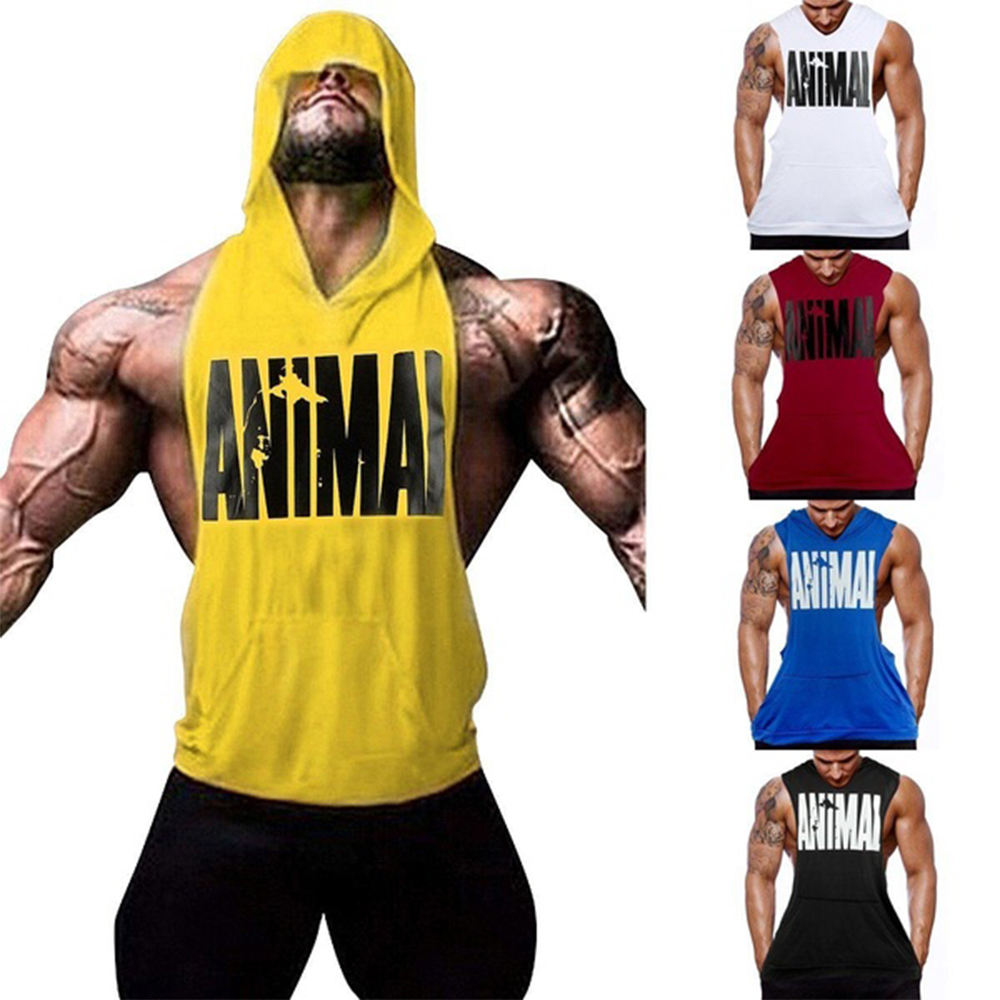 Men's Fitness Gym Print Bodybuilding Workout Muscle Sleeveless Hoodies Tank Top High Quality Cotton Sleeveless Hoodies Tops