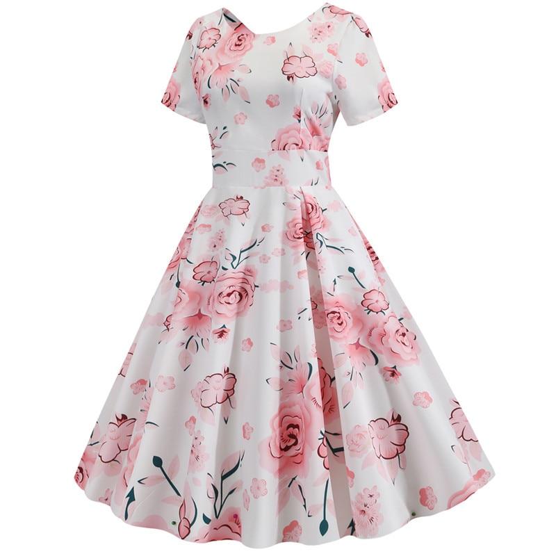 Summer Floral Print Elegant A-line Party Dress Women Slim White Short Sleeve Swing Pin up Vintage Dresses Plus Size Robe Femme 2