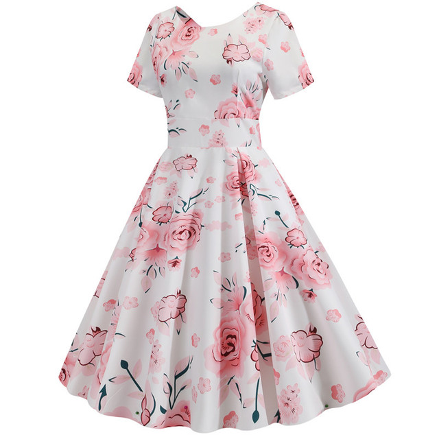 Summer Floral Print Elegant A-line Party Dress Women Slim White Short Sleeve Swing Pin up Vintage Dresses Plus Size Robe Femme 186