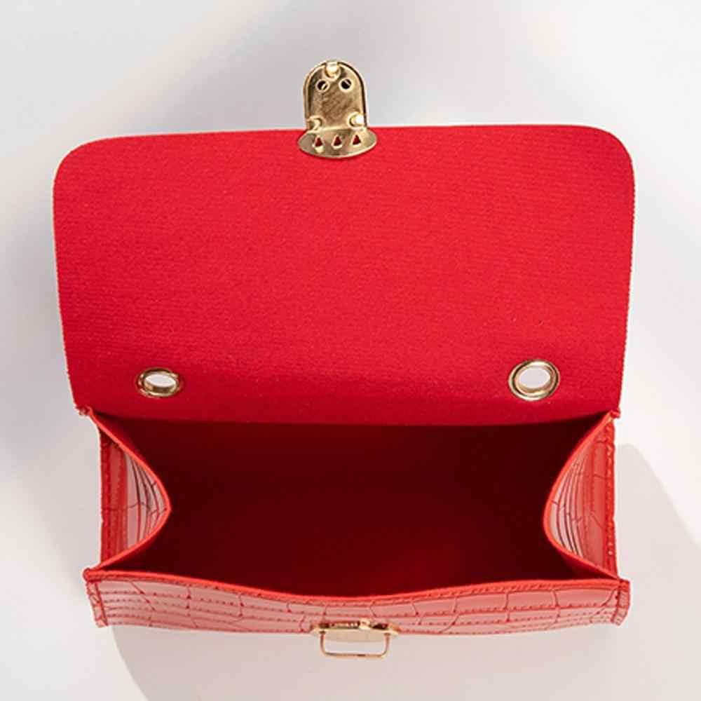 Buaya Pola Kulit Lembut Tas Selempang untuk Wanita Warna Solid Bahu Tas Pengait Cover Tas Kasual Tas Bahu Tas Tangan