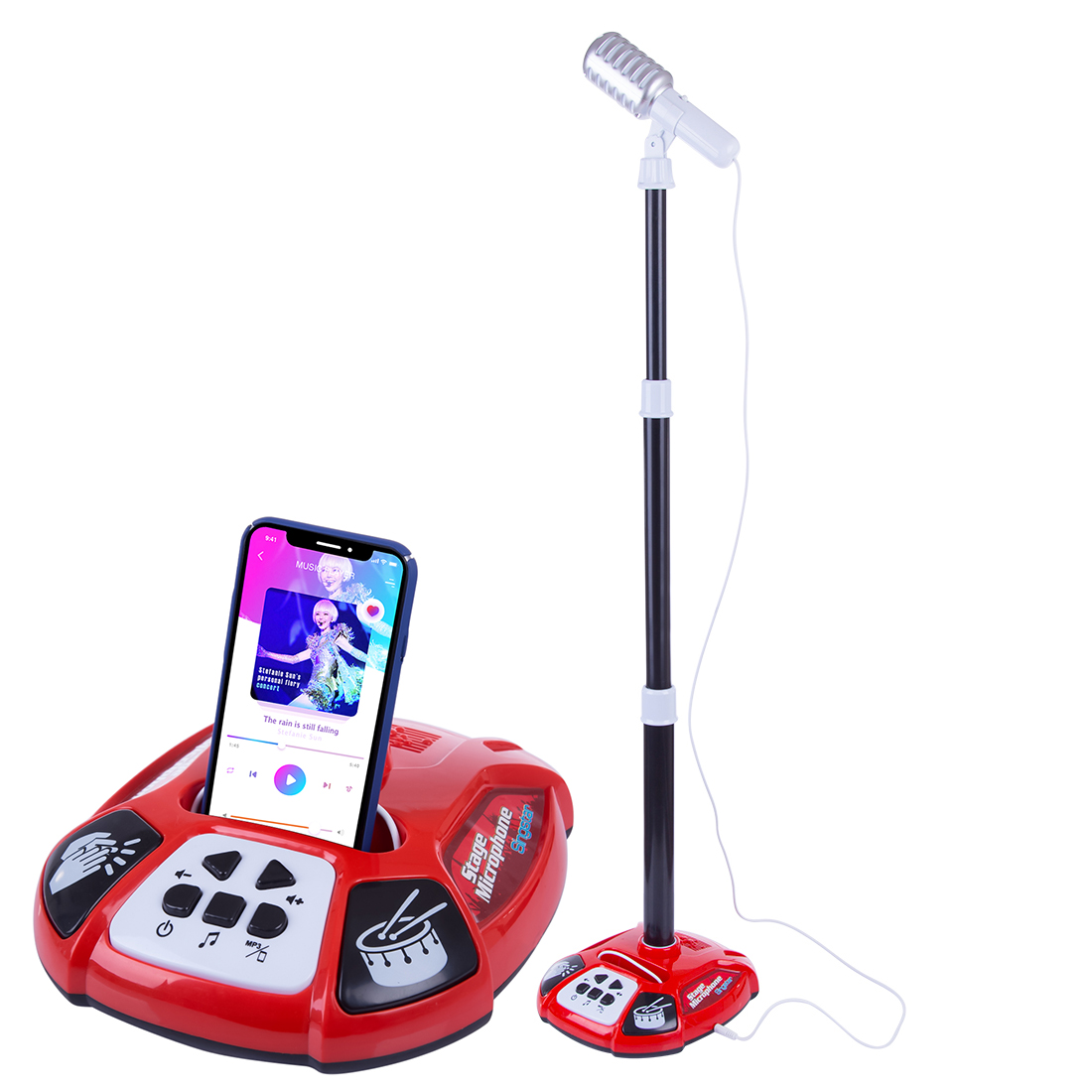 Children Karaoke Song Singing Machine Microphone Stand & Lights Toy Musical Instrument For Girls Boys Christmas Gift - Red/Pink