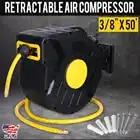 Retractable Air Compressor Hose Reel 3/8 X 50'' Auto Rewind Garage Car Washing Tool PVC Garden Water Hose Reel Watering Tool