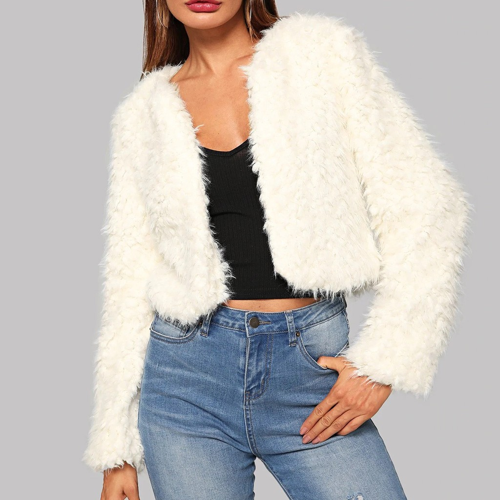2020 Winter Fashion Women White Slim Cool Lady Jackets Sweet Female Cardigan Faux Femme Outwear Coat Plus Size Chaqueta Mujer