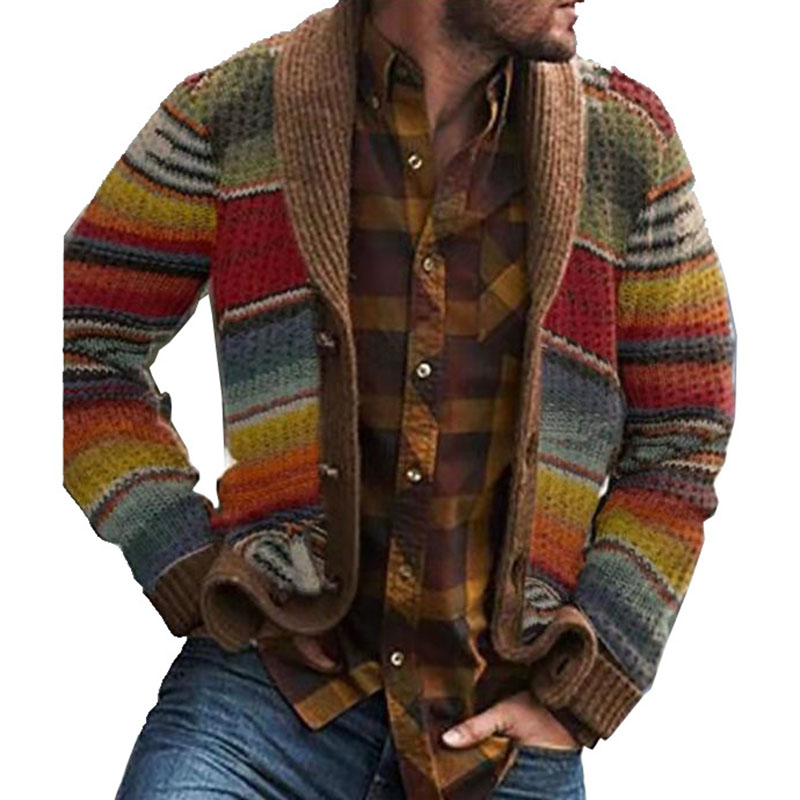 Men Casual Coat Lapel Collar Outerwear Retro Winter Autumn Button Down Warm Long Sleeve Knitted Stripes Sweaters