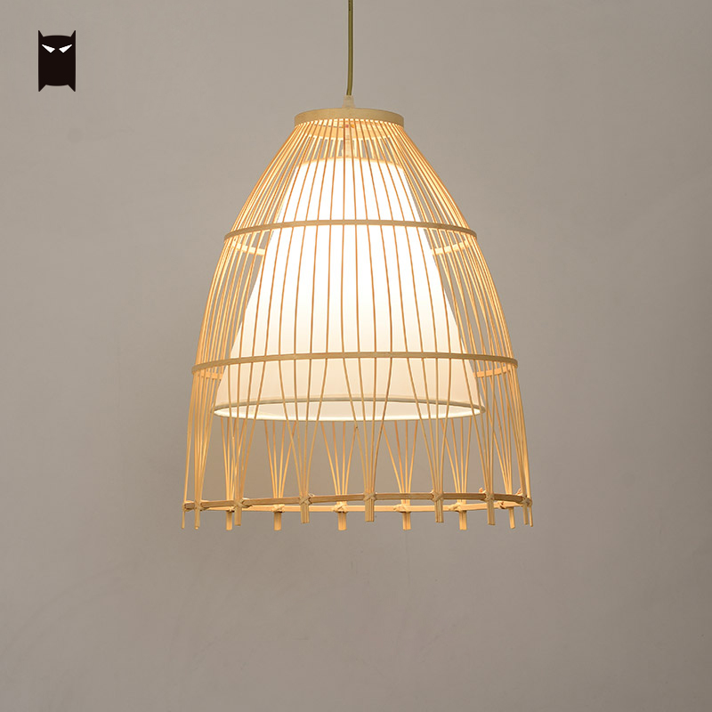 Бамбуковая плетеная ротанговая ткань тени кулон на шнурке светильник японский деревенский минималистичный художественный подвесной свет...