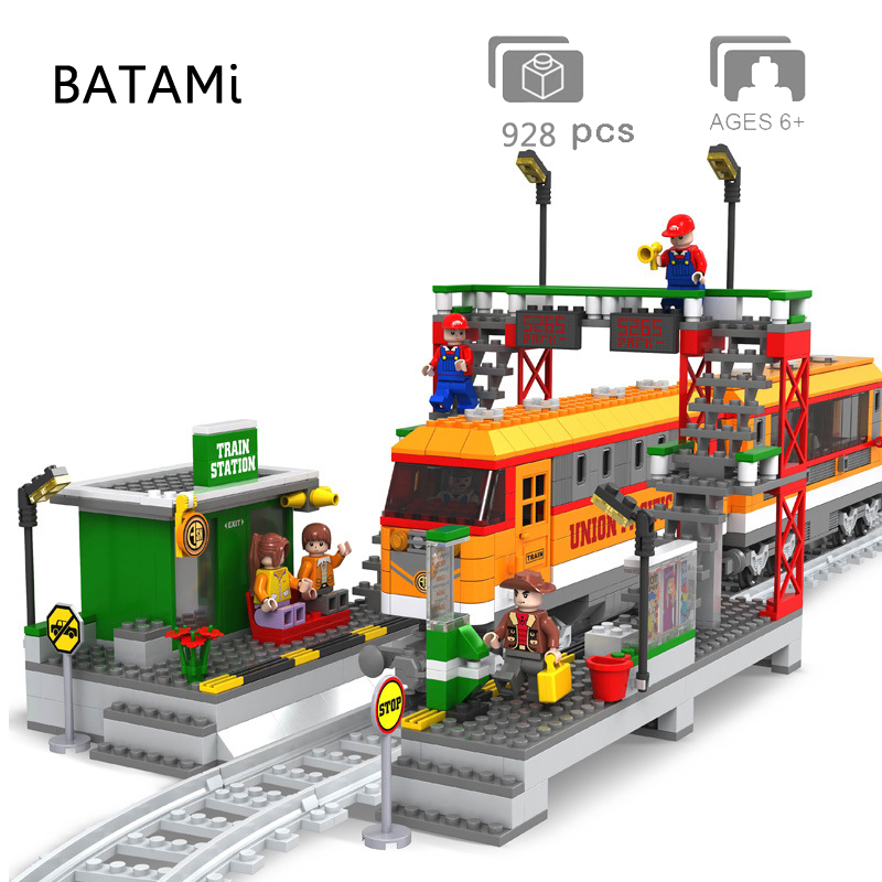 Модель строительного блока, блоки, игрушки, совместимые lego 10228 71016 71006 60052 60098 60051, городской поезд, железнодорожный поезд, инженерное транспортное средство
