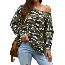 купить 2019 Women Camouflage Printted T-Shirt Autumn Sexy Cold Shoulder Long Sleeve T-Shirts Tops Harajuku Clothing Camiseta Mujer D30 по цене 800.46 рублей