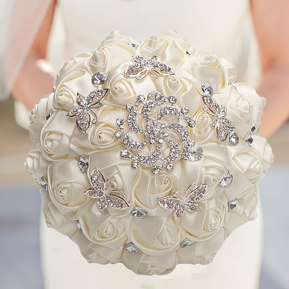 WifeLai-A Handmade Red Artificial Rose Flowers Rhinestone Bride Bridesmaid  Buequet Diamond Brooch Wedding Bouquet Flower W292
