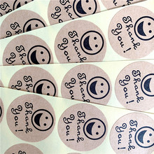 100pcs/lot Round Smiley Face Thank you Self-adhesive  Kraft Paper Sticker DIY Label Kid Stationery Stickers