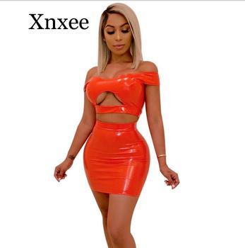 orange Seduction bar party PU Leather Two Piece Set Crop Top off shoulder Split Mini Skirt Sexy 2 Women Summer Outfit