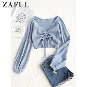 ZAFUL Knit Top Pullovers Crop-Top T-Shirt Raglan-Sleeve V-Neck Long Spring Female Casual