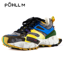PUHLLM Sneakers Women 's Chunky Lace Up High Leisure Vulcanize Shoe Platform Thick Sole Ladies  2019B74