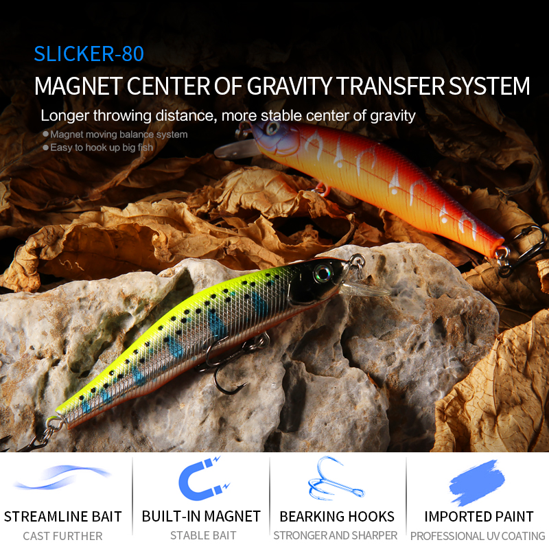 BEARKING 80mm 8.5g professional quality magnet weight fishing lures minnow crank hot model Artificial Bait Tackle 2