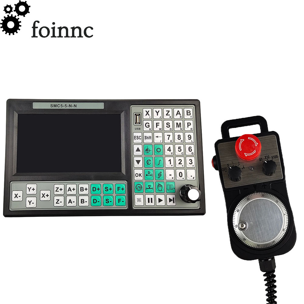 CNC 5 Axis Offline Mach3 USB Controller SMC5-5-N-N 500KHz G-Code 7 Inch Large Screen + 6 Axis Emergency Stop Hand Wheel MPG