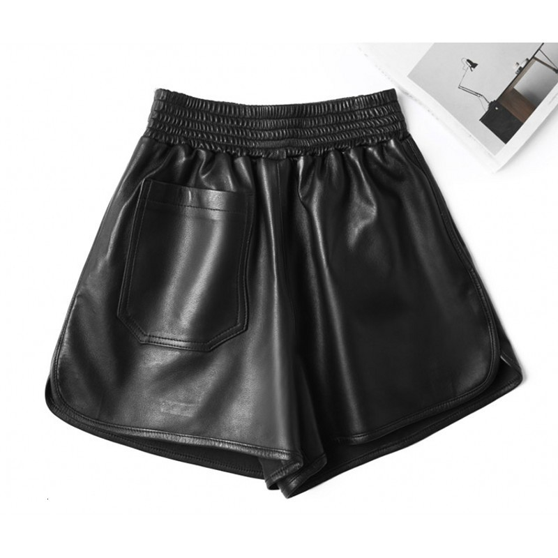 Hot Sale High Quality Real Sheepskin Shorts Womens Winter Wide Leg Pants Women Casual Elastic Waist Leather Short Pant Female