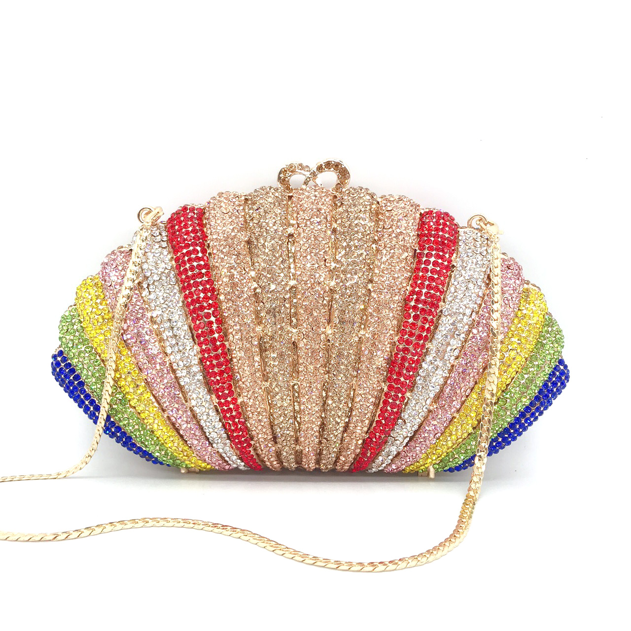 Bag For Women Rainbow Rhinestone Women Crystal Evening Clutches Bags Minaudiere Handbags Wedding Clutch Brides Purse-BeeInFly